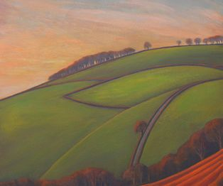 Cultivated lower fields of the hilly landscape. Mid Devon